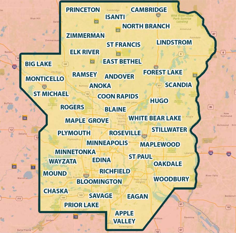 Call Deans service area map